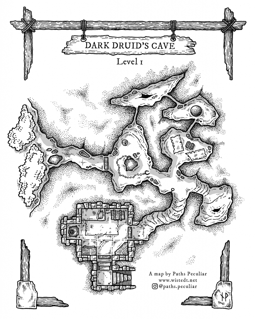 Top-down dungeon map of a druid's cave