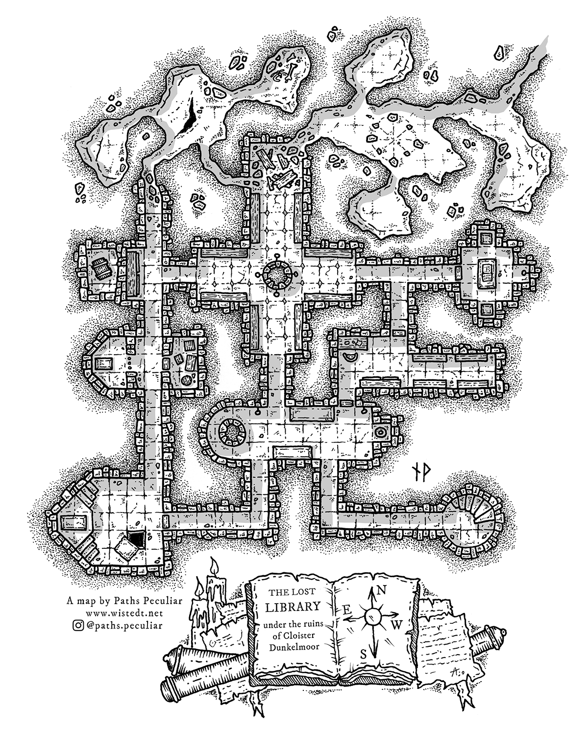 The Lost Library Dungeon Map