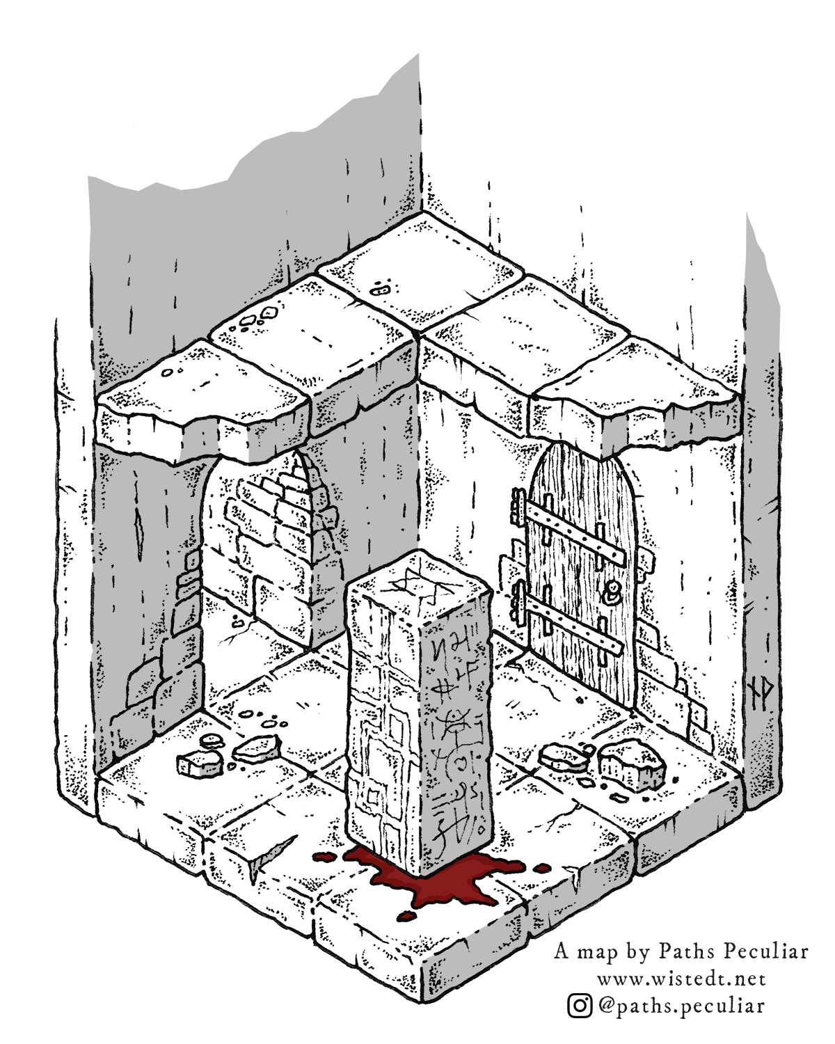 Isometric dungeon room with monolith