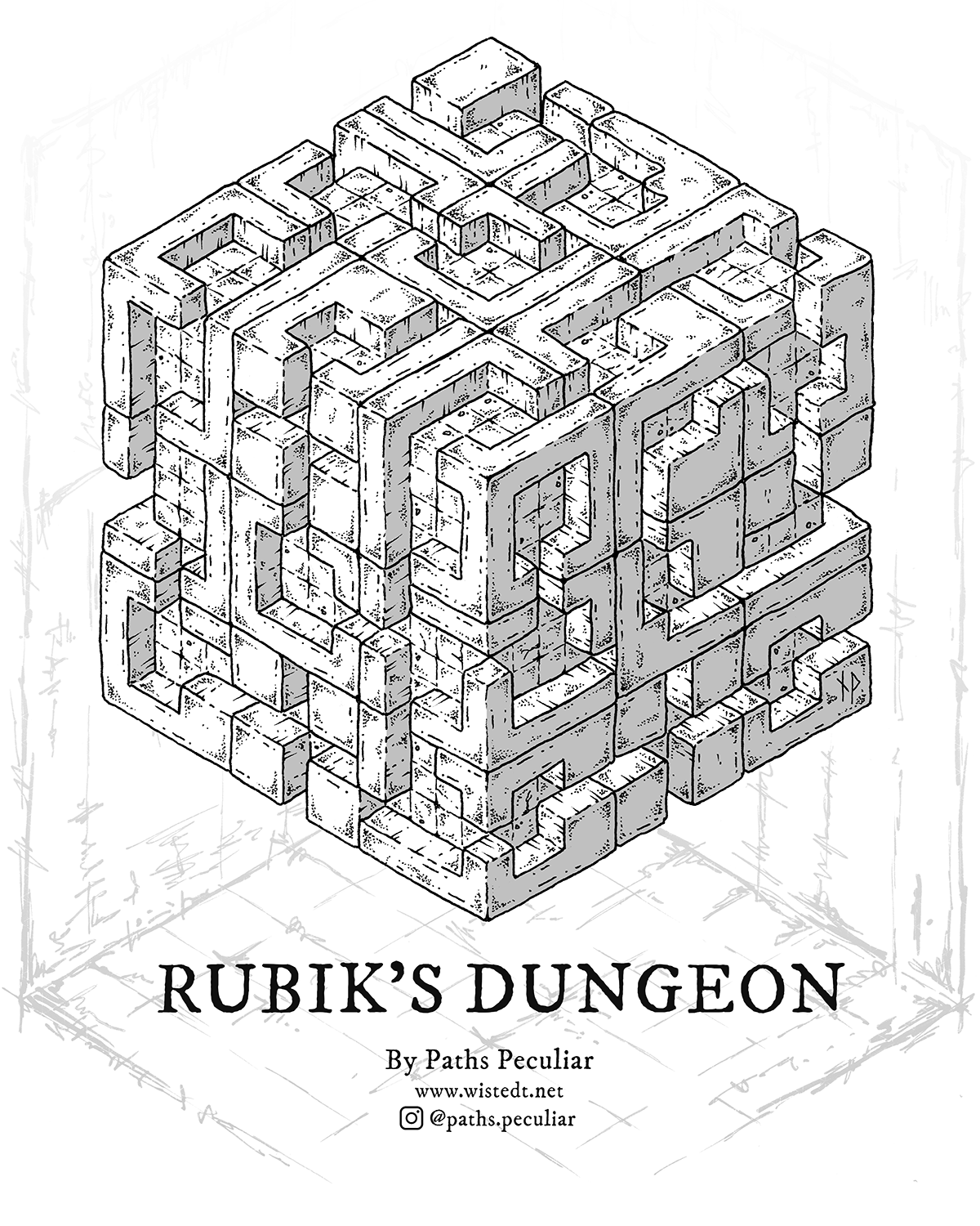 Rubik's Dungeon, cube-shaped isometric dungeon map