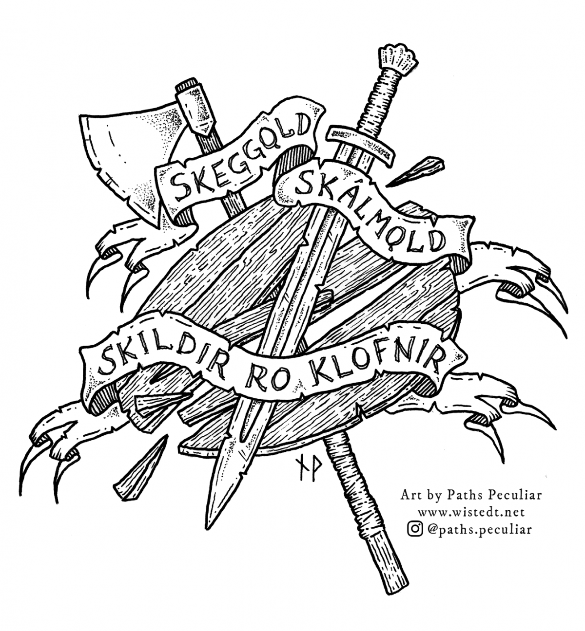 Axe, sword and splintered shield. Text reading: Skeggǫld, skálmǫld, skildir ro klofnir.