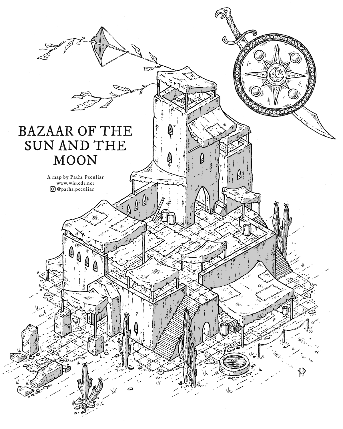 The Bazaar of the Sun and the Moon – isometric map