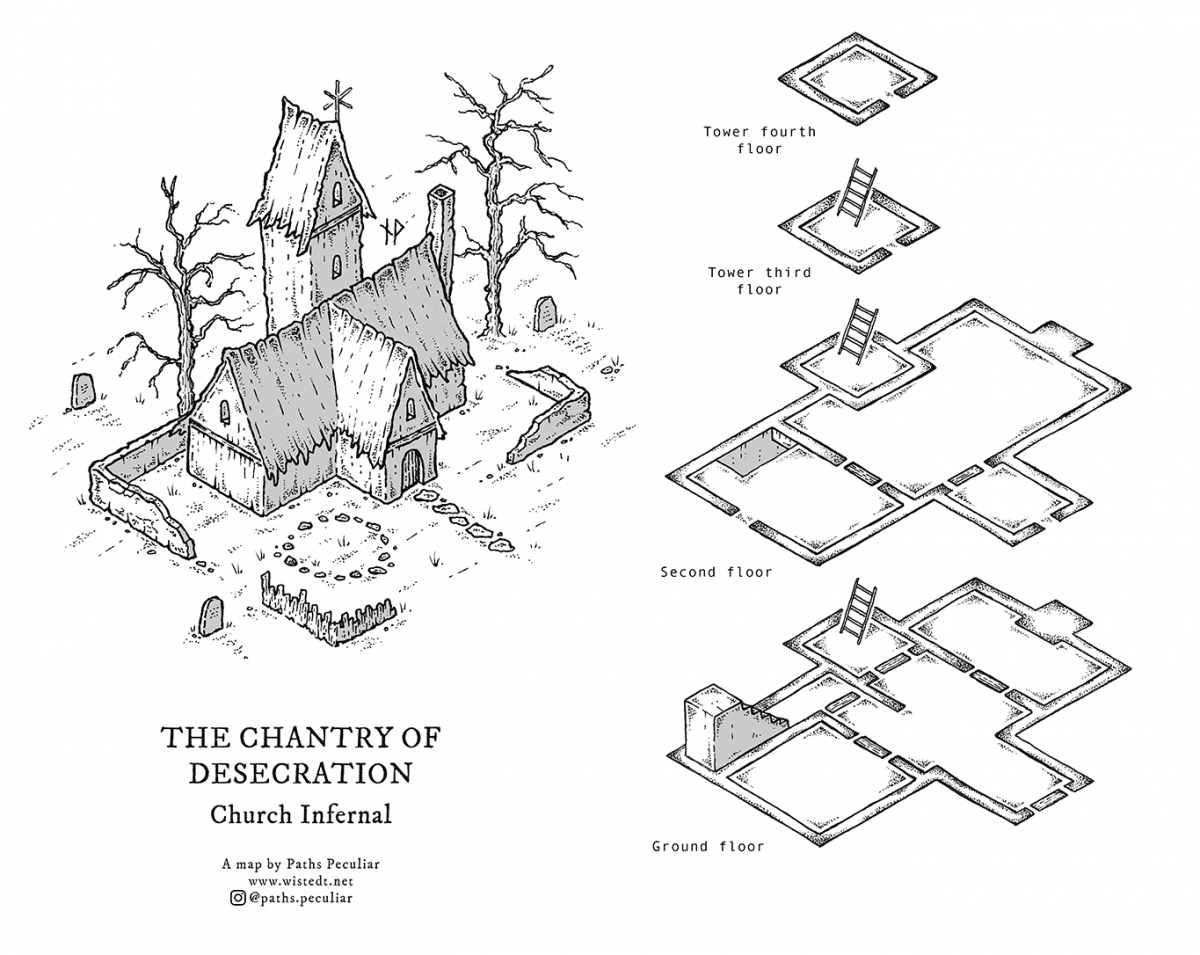 The Chantry of Desecration – isometric map for D&D