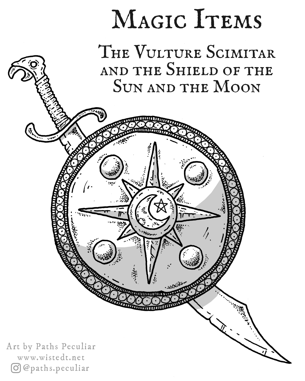 Magic items for D&D: The Vulture Scimitar and the Shield of the Sun and the Moon