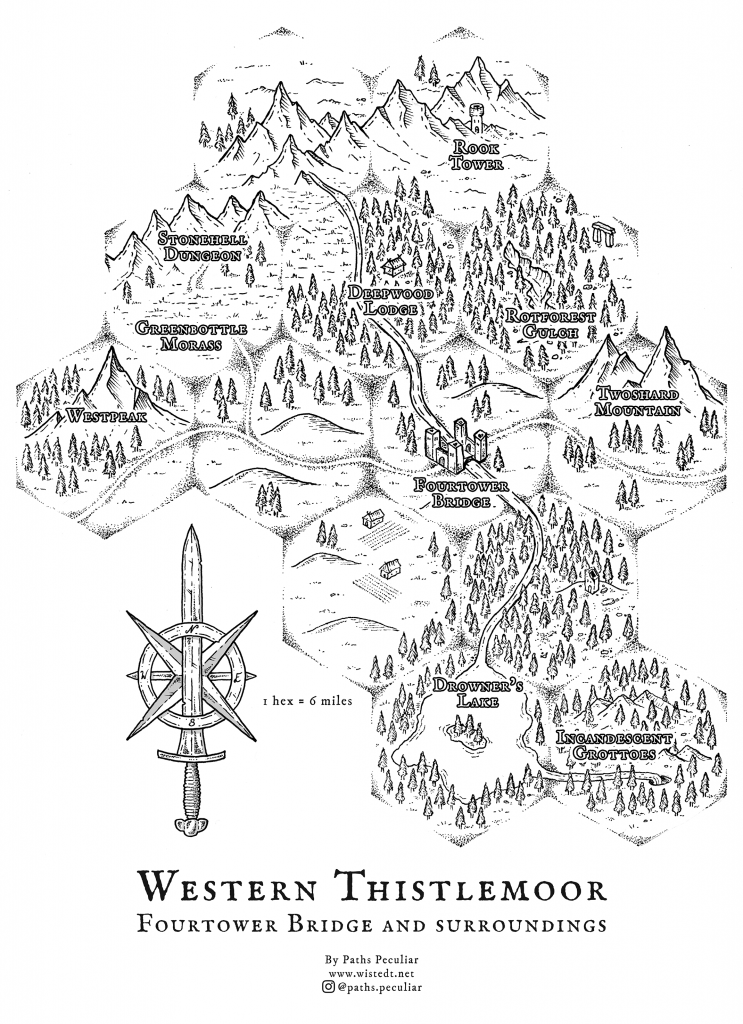 Overland hex map of Thistlemoor and Fourtower Bridge