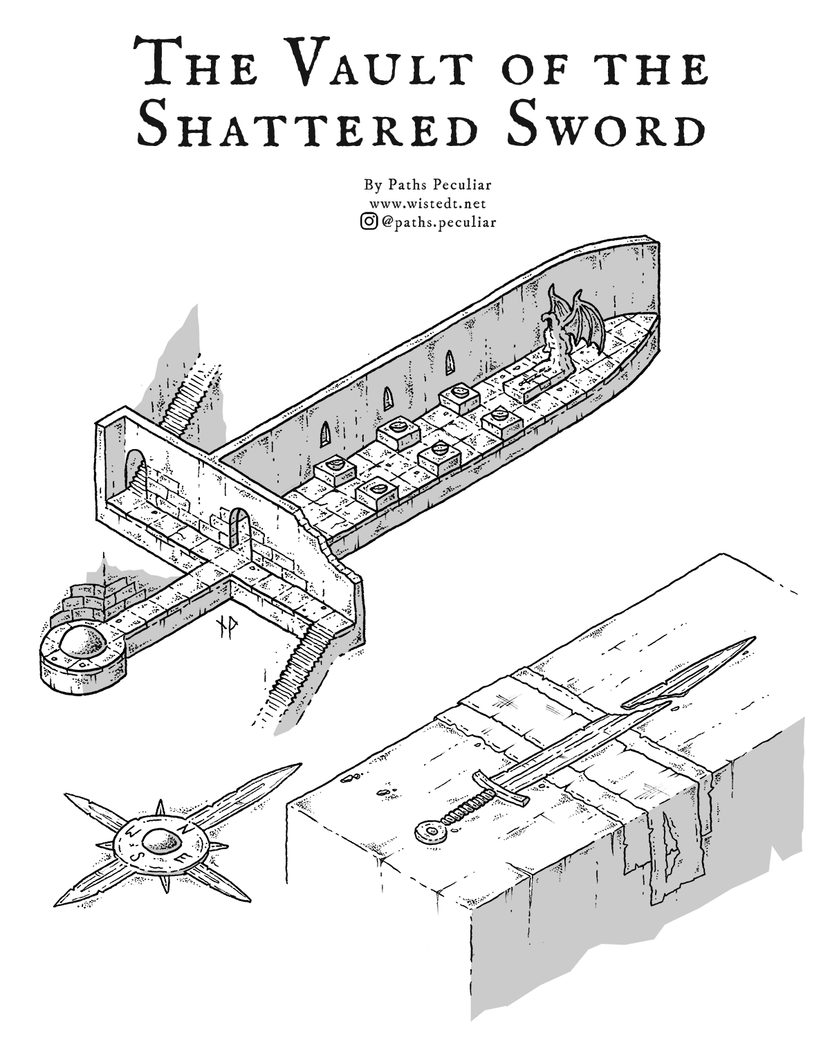 """The Vault of the Shattered Sword – isometric map for """"Swordtember"""""""