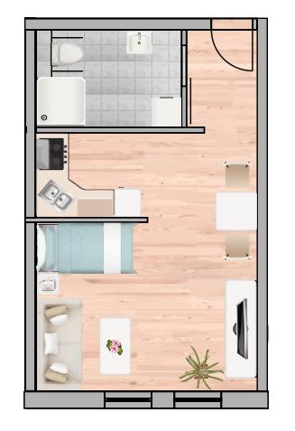 1-Raum Wohnung Nr. 3 10 17