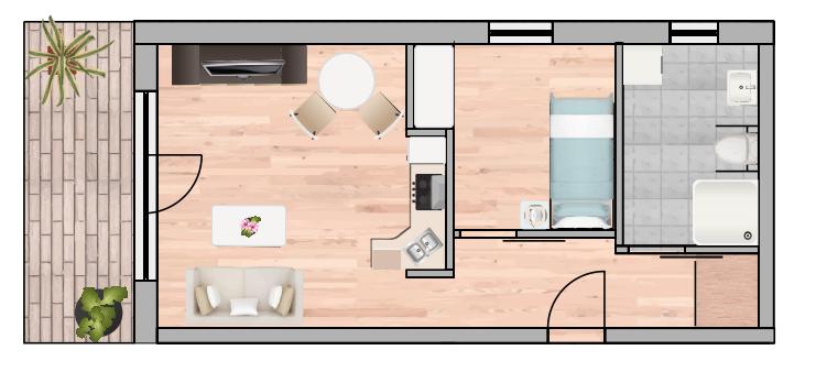 1-Raum Wohnung Nr.7 14 21