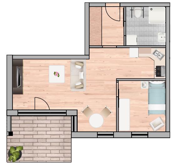 2-Raum Wohnung Nr. 1 8 15