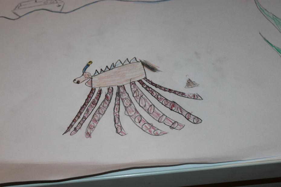 Tekening van een zee-hond-octopus
