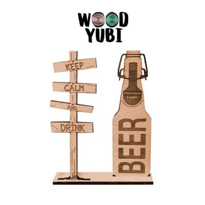 Houten Wenskaart Keep Calm and Drink Beer