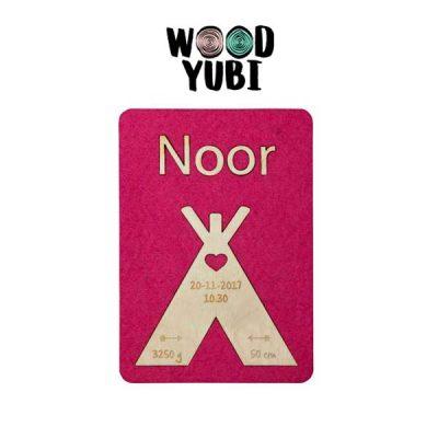 Houten Geboortekaartje Noor