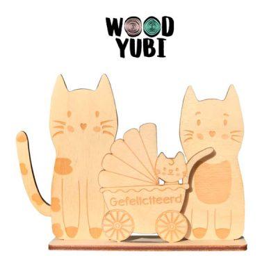 Houten wenskaart Gefeliciteerd Katjes