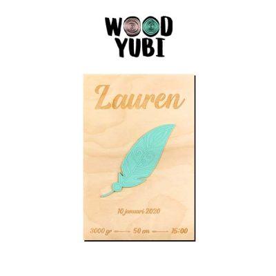 Houten Geboortekaartje Lauren 2