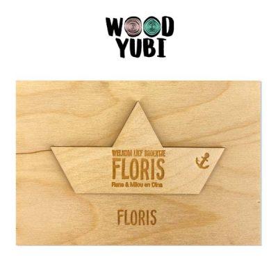 Houten Geboortekaartje Floris 1