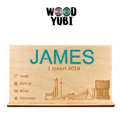 Houten Geboortekaartje James 2