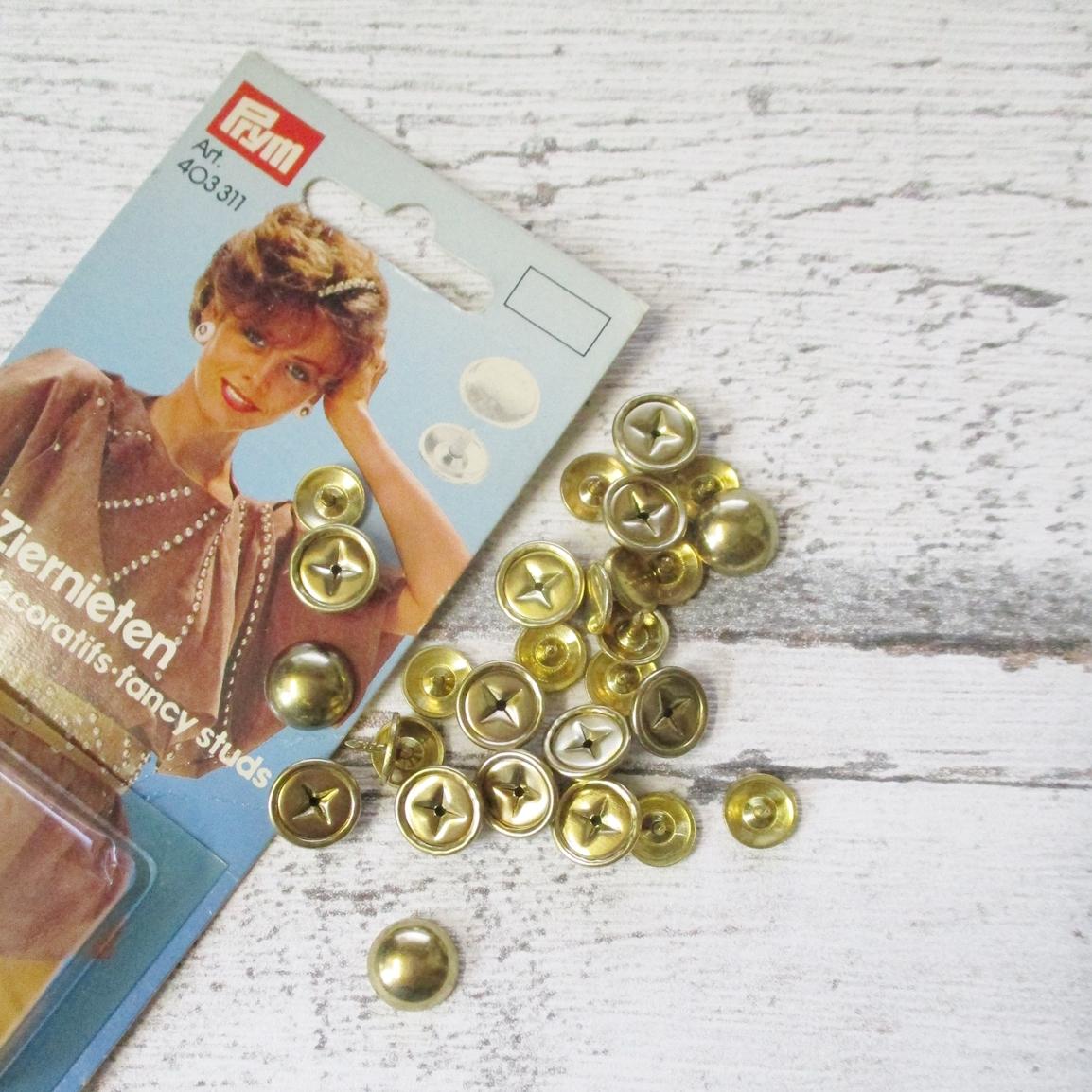 Ziernieten 20Stk gold rund Prym - Woolnerd