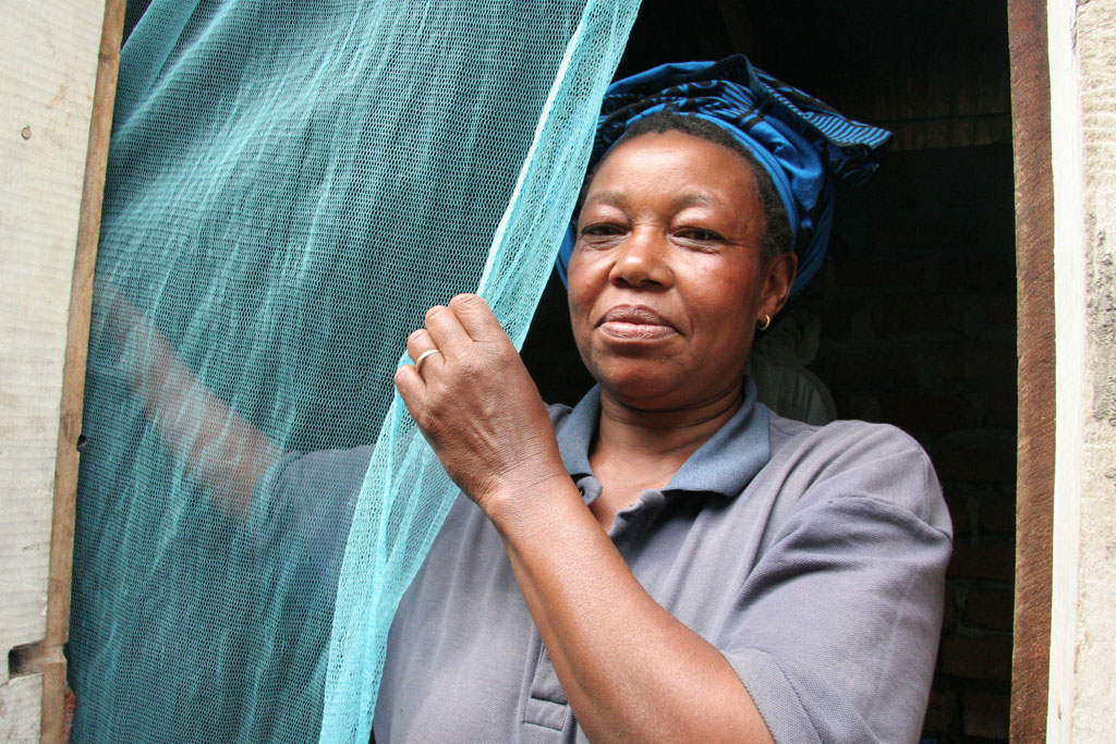 A woman putting up a mosquito bednet in Tanzania. Photo: WHO S. Hollyman