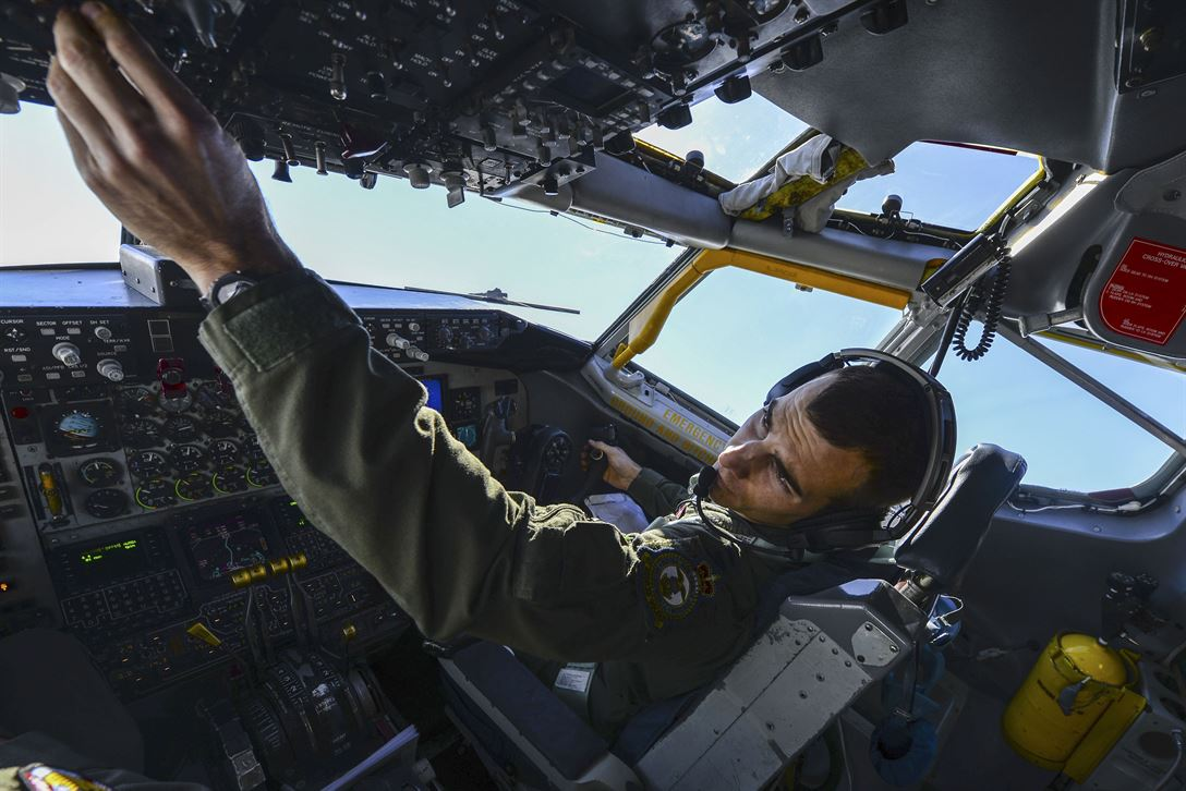Air Force Capt. Robert Allen flies a KC-135 Stratotanker aircraft over England, May 3, 2017. Allen is an instructor pilot assigned to the 351st Air Refueling Squadron. Air Force photo by Staff Sgt. Micaiah Anthony