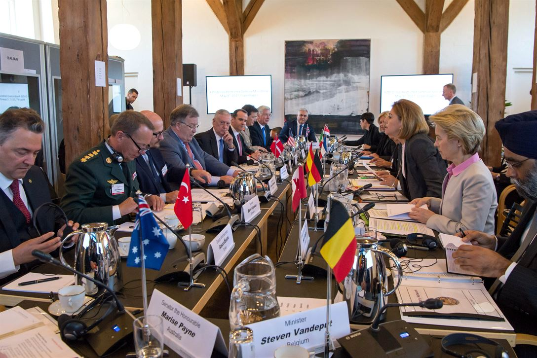 Defense Secretary Jim Mattis, fifth from left, co-hosts a meeting with senior leaders from 15 countries that are key contributors to the counter-ISIS military campaign in Copenhagen, Denmark, May 9, 2017. DoD photo by Air Force Staff Sgt. Jette Carr