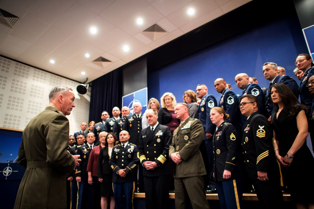 Marine Corps Gen. Joe F. Dunford, chairman of the Joint Chiefs of Staff, speaks to members of a U.S. military delegation that supports NATO in Brussels, May 17, 2017. DoD photo by Army Sgt. James K. McCann