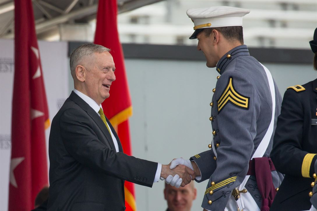 Defense Secretary Jim Mattis congratulates a cadet during the commencement ceremony for the U.S. Military Academy Class of 2017 at West Point, N.Y., May 27, 2017. Nine hundred thirty-six cadets from the class received their diplomas during the ceremony. Army photo by Staff Sgt. Vito T. Bryant