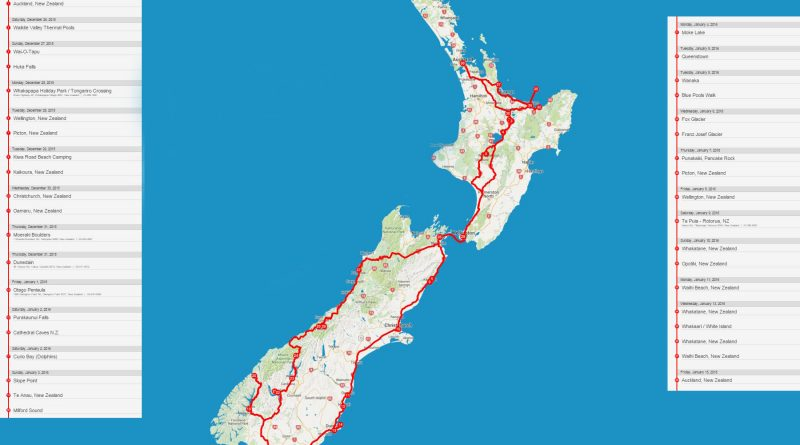 Neuseeland Route