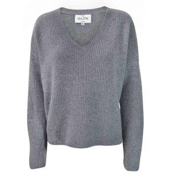 Rib V Pullover i 100% cashmere fra Wuth Copenhagen. En klassisk ribstrikket cashmere bluse i grå.