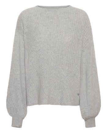 Louise cashmere pullover med oversize puffærmer og ribmønster fra Wuth Copenhagen.