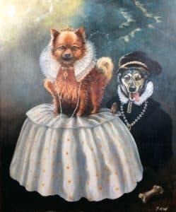 Pomeranian dog portrait - Buffy the as Queen Elizabeth 1st