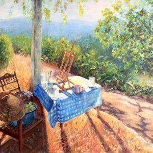 Painting of Cortijo Zamorano in the morning sun