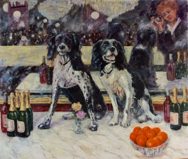 Lottie and Sukie at the Folies Bergere Two dogs painted in impressionist style