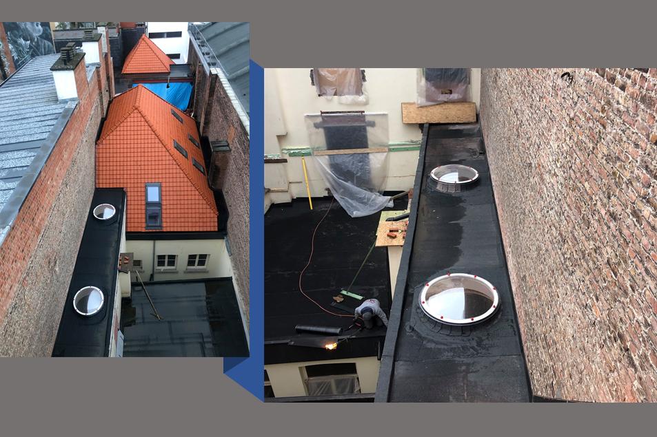 Plat dak met koepels