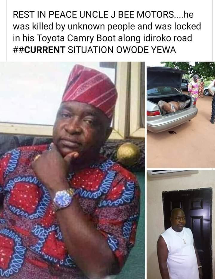 Ogun Missing Hotelier Found Dead In Car Trunk A popular hotelier in the Owode Yewa area of Ogun State