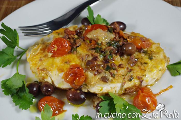 Cernia brandy pomodorini e olive leccine