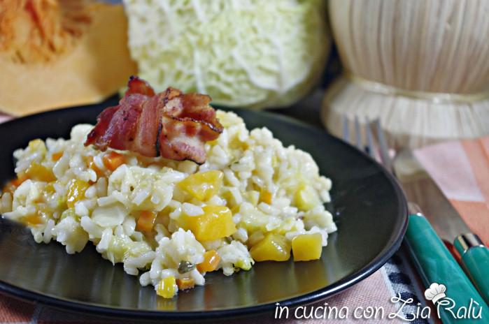 Risotto zucca verza e bacon croccante