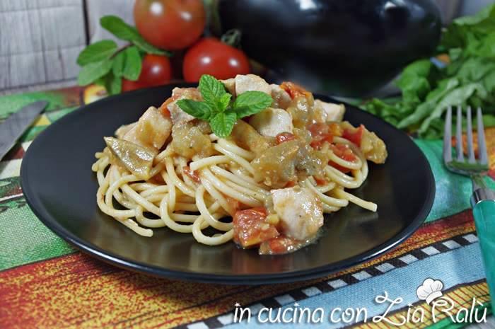 Spaghetti pesce spada e melanzane