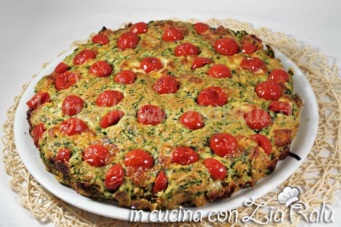 Torta salata soffice spinaci e pomodorini