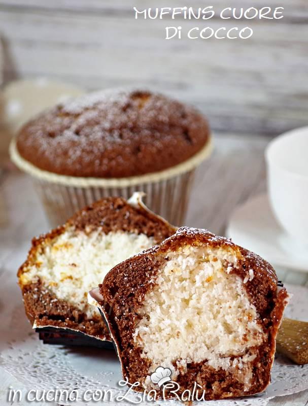 muffins al cacao con cuore al cocco