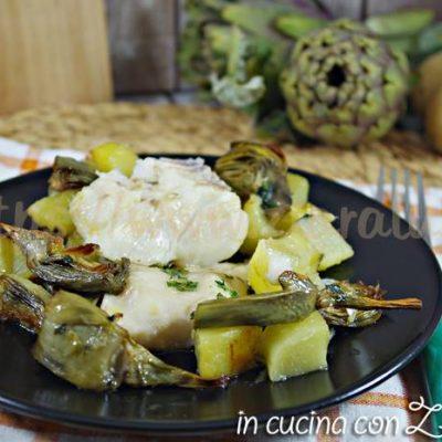 merluzzo carciofi e patate al forno
