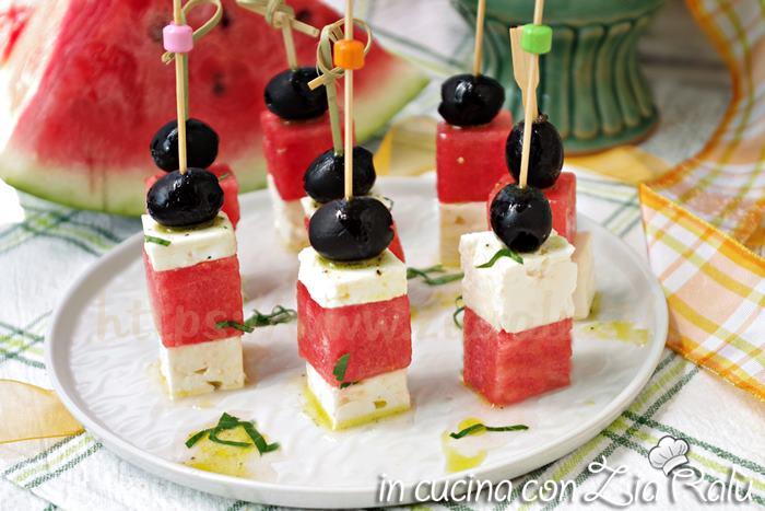 antipasto anguria feta e olive nere