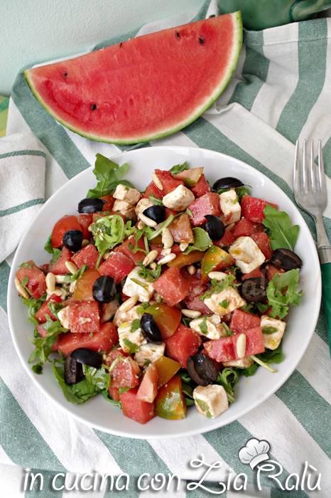 insalata anguria pomodorini e feta