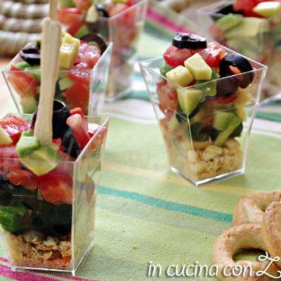 bicchierini taralli avocado e pomodoro al lime