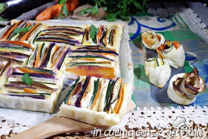 Torta di verdure colorata salata quadrata