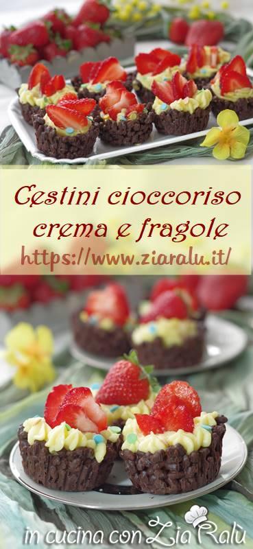 cestini cioccolato crema e fragole