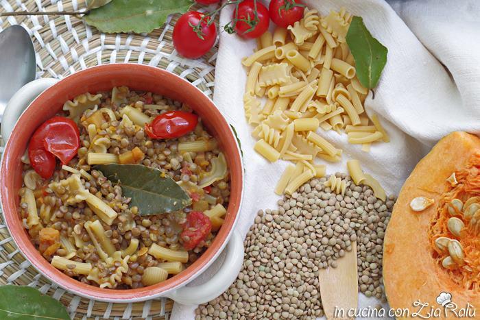 minestra di lenticchie e zucca