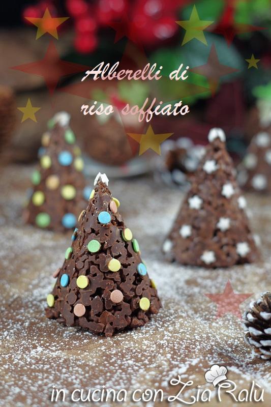 alberelli di riso soffiato al cioccolato dolci di Natale