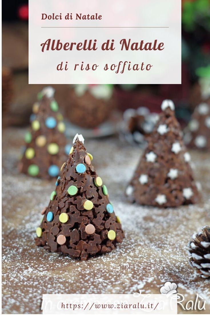 Gli alberelli di riso soffiato al cioccolato dolci di Natale