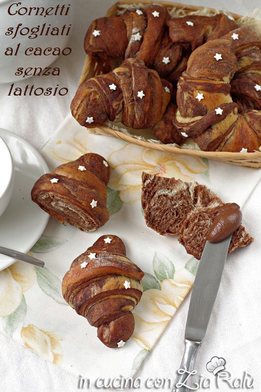 cornetti sfogliati al cacao senza lattosio