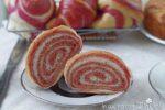 Cornetti bicolori all'olio senza uova rosa (alla barbabietola rossa)